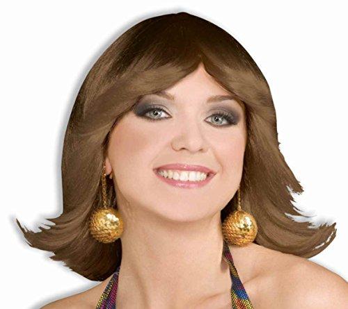 Forum Novelties Women's 70's Disco Fever Flip Style Brown Wig, Blonde, One (Brown Flip Wig)
