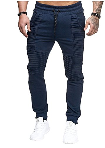 Nicelly Men Mid-Rise Silm Fit Stripes Fitness Hip Hop Cozy J