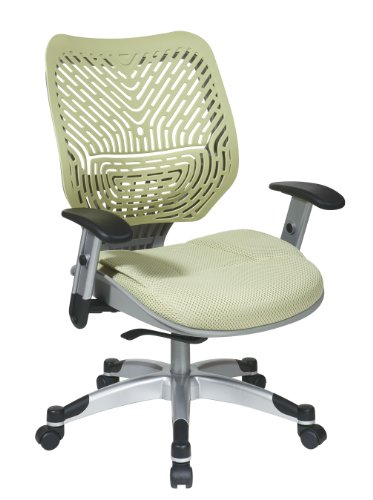 (SPACE Seating REVV Self Adjusting SpaceFlex Kiwi Backrest Support and Padded Kiwi Mesh Seat with Adjustable Arms and Platinum Finish Base Managers Chair)