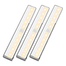 LE LED Closet Light, 10-led Motion Sensing Under Cabinet Lighting, Wireless Stick-on Anywhere Stair Lights, LED Light Bar with Magnetic Strip, Battery Operated, 3000K Warm White, Silver, 3-Pack
