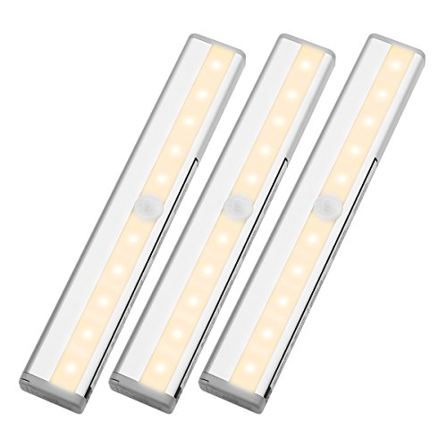 LE LED Closet Light, 10 Led Motion Sensing Under Cabinet Lighting, Wireless  Stick On Anywhere Stair Lights, LED Light Bar With Magnetic Strip, ...