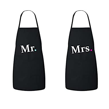 FASCIINO Set of Hubby Wifey Mr. / Mrs. His and Hers Chef Couples Apron Valentines Wedding Bridal Gift 2pcs (black)
