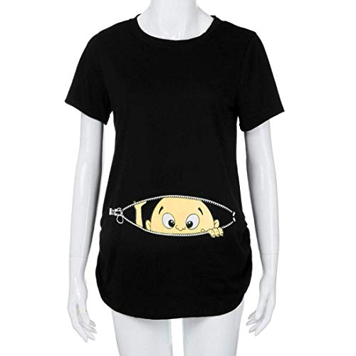Tshirts Enceinte Bouffant Tee Modle Femme Shirt Schwarz Cartoon Plier fashion Maternit Shirt Mode Allaitement Basic Courtes Manches Et HX Impression Rond Vetement Elgante Casual Col Haut Uw1gvxFq