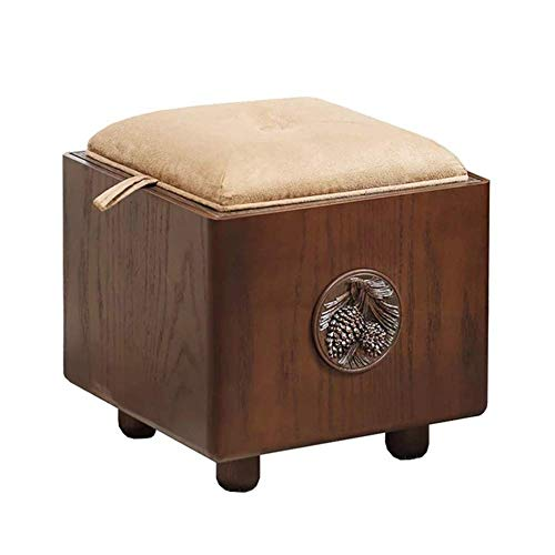 KSDGQ Stool Footstool Sofa Stool Solid Wood Stool Changing His Shoes Toy Storage Box Multifunction (Color : Oak Color, Size : 33 33 - Blanket Carved Oak
