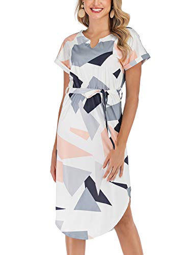 Poptem Womens Summer Casual V-Neck Geometric Pattern Belted Midi Pencil Dresses White Medium