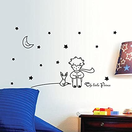 Beautyjourney Stickers Muraux Chambre Bebe,ÉToiles Moon Le Petit Prince Boy  Wall Sticker DéCoration Murale DéCo 96*42cm (Noir)