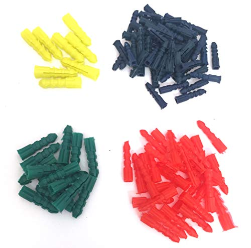 Plastic Drywall Wall Concrete Anchors - Assorted Sizes & Colors - 100 Pieces - Hanging Pictures - Works in Cement Brick - Heavy Duty