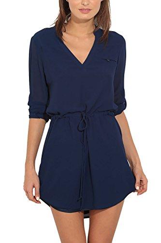 Eliacher Women's Dresses Summer Casual Drawstring Long Sleeve V-neck Shirt Dress 6682(S,Dark Blue)