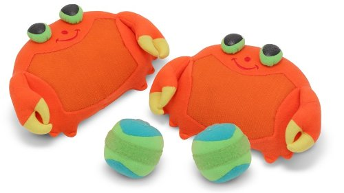 Melissa & Doug Sunny Patch Clicker Crab Toss and Grip Catching Game With 2 Balls ()