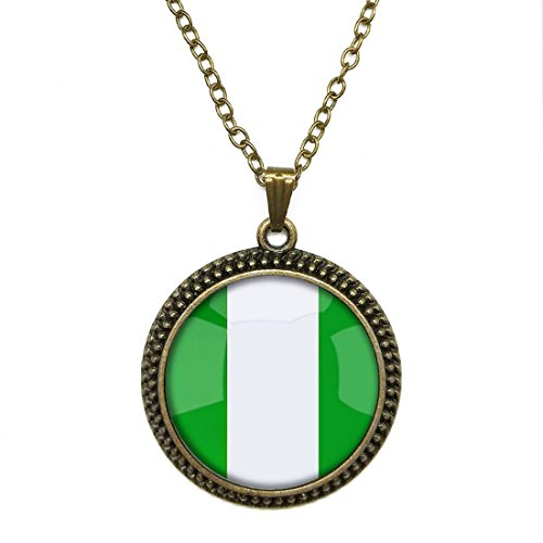 Mysterious Time Gem Pendant Chain Necklace Federal Republic Of Nigeria National Flag Pendant Necklace Chain Glass by T&H - Crystal Federal Glass