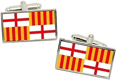 Family Crests Barcelona (España) Gemelos Bandera en una Carcasa Cromo: Amazon.es: Joyería