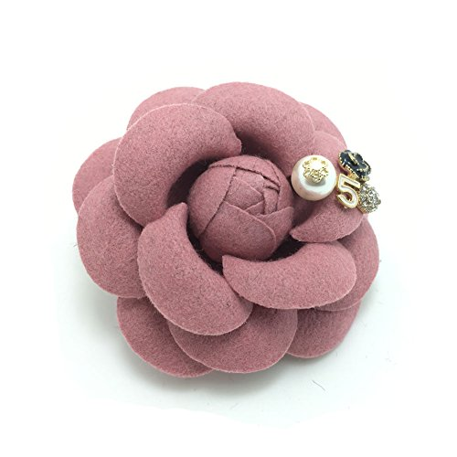Oval Set Brooch (Meilliwish Pearl Flower Hair Clip and Brooch Pin(A85)(Pink))