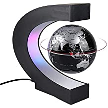 Aukee 3 inch C Shape Magnetic Levitation Floating Globe Maglev Globes World Map with LED Light for Teaching Home Office Desk Decoration Black