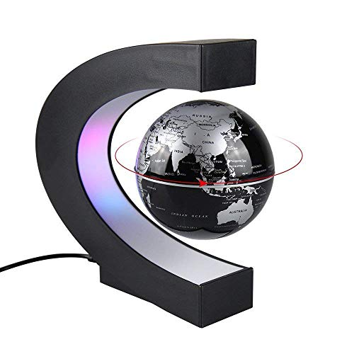 - Aukee 3 inch C Shape Magnetic Levitation Floating Globe Maglev Globes World Map with LED Light for Teaching Home Office Desk Decoration Black
