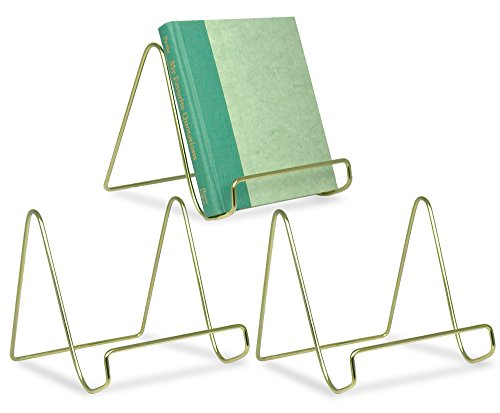 (BANBERRY DESIGNS Wire Easel Display Stand Plate Holders - Smooth Brass Metal - 6