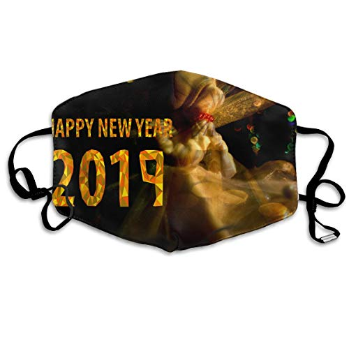 Lojaon Washable Face Mouth Cover Mask - Breath Healthy Respirator Happy New Year 2019 Prayer Print Earloop Mask -