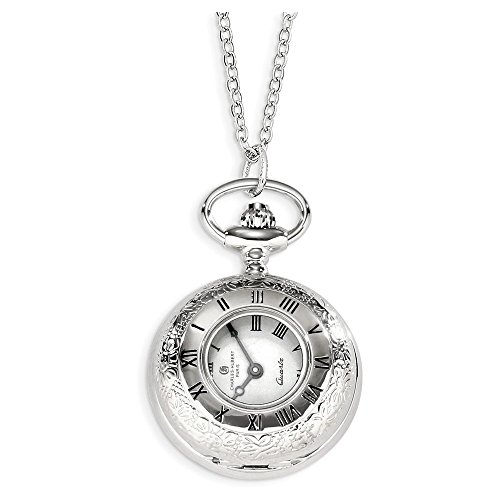 Charles Hubert Chrome-finish Floral Design Pendant Watch