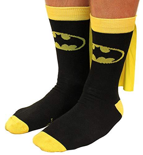 Batman Socks Mens Cape Crew Superhero Costume Adult Shoe Size 8-12 ()