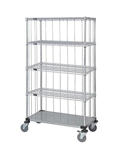 - Quantum 3 Sided Stem Caster Wire Shelf Cart 63