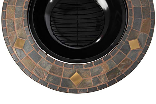 Fire Pits Amazon Basics 34-Inch Natural Stone Fire Pit with Copper Accents firepits