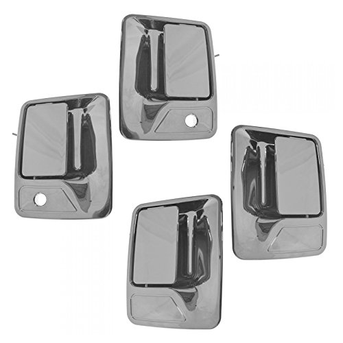 Door Handle Excursion Chrome (Outside Exterior Door Handle Chrome Front Rear Kit Set of 4 for Super Duty Truck)