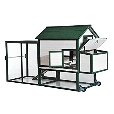"""Pawhut 100"""" Wooden Chicken Coop w/ Run, Nesting Box and Wheels - Green and White"""