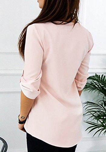 Sexy Maglietta Zip Mezza Top Pullover Jumper Casual V Blusa Estivo Donna con Rosa Collo Solido Sciolto Shirt T Camicie Colore di Manica vBxwHU