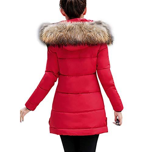 Manteaux Coupe Rouge Slim Hiver Duvet À Petalum Avec Chaud Faux Capuche Doudoune Parka Blouson Fourrure Femme 1dSnwqA