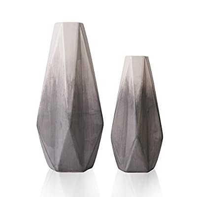 TERESA'S COLLECTIONS Ceramic Flower Vase,Set of 2 Grey and White Modern Geometric Decorative Vases Set for Centerpieces,Kitchen,Office,Wedding or Living Room - PRODUCT:The ceramic vase set made of high quality pottery by handmade.Set of 2 vases feature with Grey colored glaze and geometric style are not only common vases for flowers, but also beautiful handicrafts. USE:Filled with artificial flowers, floral or greenery additions for a stunning display that instantly brightens up bedrooms, lounges and offices. Also an ideal gift to your family, friends or lovers who likes to decor accents around the house. SIZE:Measure around 3.15*11.02*2.17 inch (large) and 2.56*8.66*1.77 inch (small). Suitable size for home and garden decoration. - vases, kitchen-dining-room-decor, kitchen-dining-room - 41i5MLor4BL. SS400  -