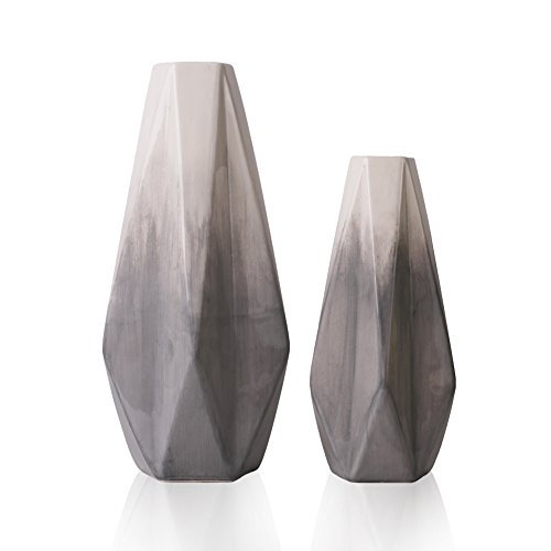TERESA'S COLLECTIONS Ceramic Flower Vase,Set of 2 Grey and White Decorative Vases