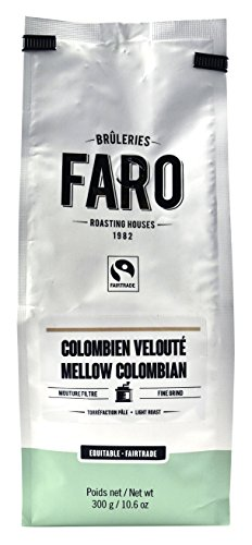 Faro Roasting House Mellow Colombian Fine Grind Coffee 10oz, Flavorful Organic and Fair Trade Filter Grind Coffee - Fresh Light Roast Ground Coffee, Finely Ground Coffee Beans (10 Ounce Bag) (Blue Fine Carafe)