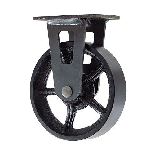 """5"""" CC Vintage Rigid Caster - Plate Mount - Black Cast Iron Wheel"""