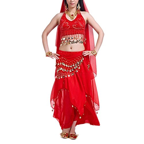 [BellyLady Belly Dance Professional Costumes Set, Halter Coins Bra Top And Skirt RED] (Red Belly Dancer Costume)