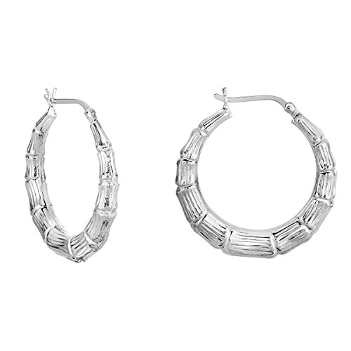 (Bamboo Texture Round Hoop Earrings in .925 Sterling Silver, 1 1/4 Inch Diameter)