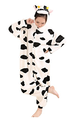[AooToo Adult Unisex Role Play Flannel Homewear And Animal Pajamas(White, M)] (Third Leg Costume)