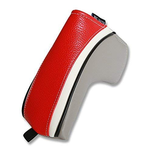 Big Teeth Classic Golf Blade Putter Cover Headcover Mid Mallet Club Protector Magnetic Bar Closure For Scotty Cameron Taylormade Odyssey (Red/Gray)