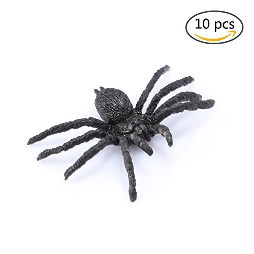 10PCS Plastic Spiders Realistic Bugs Scary Creepy Rubber Prank Gag Gifts for Halloween Decorations-FUNLAVIE