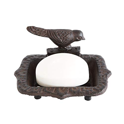 Creative Co-Op Cast Iron Soap Dish with Bird & Rust Finish