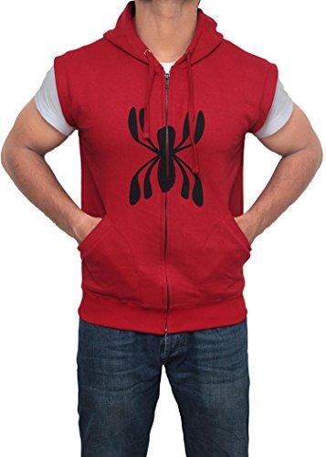 Spiderman Peter Parker Sleeveless Hoodie for Men - Adult Mens Spider Man Costume Hooded Jacket (XXL)