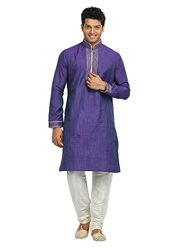 Saris and Things Purple Violet Cotton Linen Indian Kurta Pajama for Men by Saris and Things (Image #5)