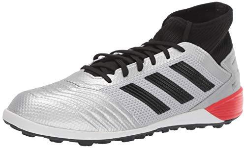 adidas Men's Predator 19.3 TF Soccer Shoe, Silver Metallic/Black/hi-res red, 9 M US