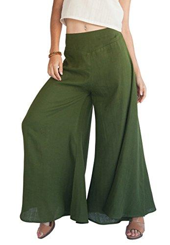 Tropic Bliss Women's Wide Leg Organic Cotton Palazzo Pants In Hunter Green by, XL, Plus (Organic Wide Leg Pant)