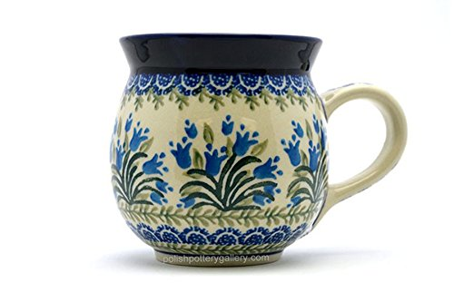 (Polish Pottery Mug - 15 oz. Bubble - Blue Bells)