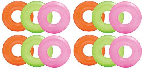 Intex Colorful Transparent Inflatable Swimming Pool Tube Raft (12-Pack)  59260EP