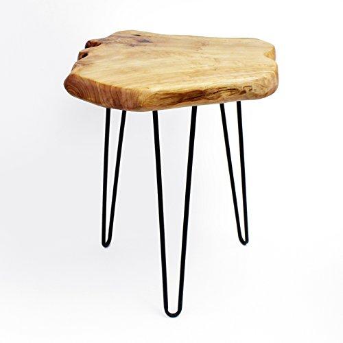 WELLAND Cedar Wood Stump End Table Rustic Surface Side Table 3-Leg Metal Stand (Table Cedar Wood)