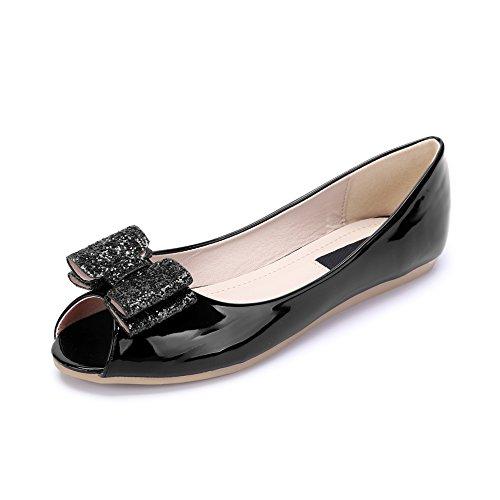 mujer 8 pescado Negro la de de de plano Moda de zapatos PU para Charol cabeza D Ballet aO64Uqwn