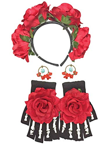 ESSA OAT clothes series Day of The Dead Female Kit W/Headband Earrings Gloves Adult Costume -