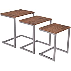 Giantex 3PC Stacking Nesting Coffee End Table Set Living Room Modern Home Furniture