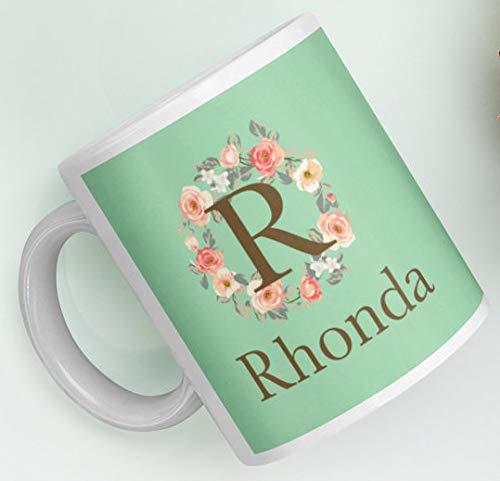 Customizable Gift Mug Personalized Custom Initial R Rose Floral Wreath Monogram Green