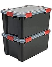 Iris AT-L All-Weather Box Opbergdozen, Zwart, 50 L, 2 Stuks
